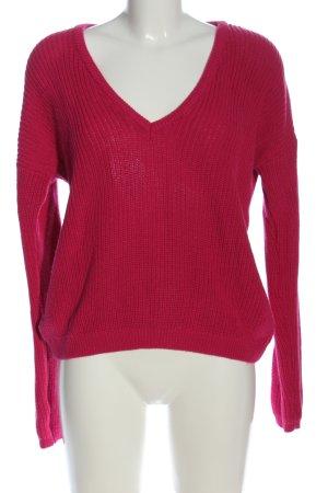 NA-KD Jersey con cuello de pico rosa punto trenzado look casual