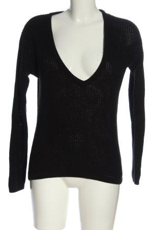 NA-KD V-Ausschnitt-Pullover schwarz Casual-Look