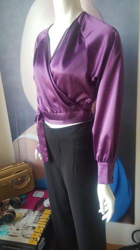 Andrea Hedenstedt x NA-KD Blouse portefeuille noir-violet
