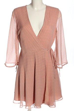 NA-KD Wickelkleid pink-weiß Allover-Druck Casual-Look