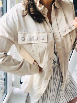 Nachhaltig lange Bluse beige nude creme dick S 36