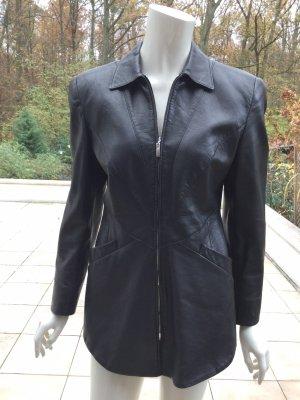 Nachtblaue Clasen Leder Jacke Größe 38