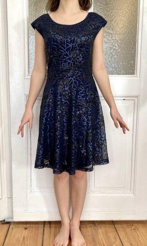 Yumi Cekinowa sukienka ciemnoniebieski Poliester