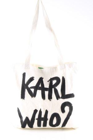 Naco Paris Cabas à roulettes blanc cassé lettrage imprimé style décontracté