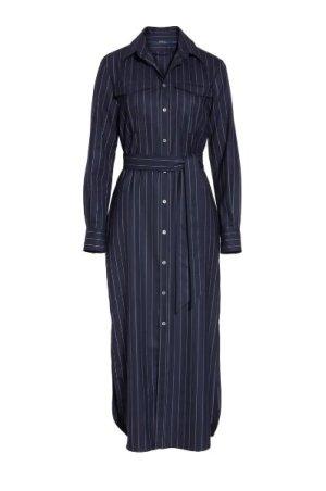 Nadelstreifen-Hemdkleid aus Wolle Navy Size 6