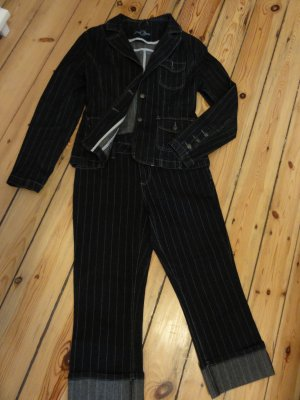 Zero Pinstripe Suit dark blue-white cotton