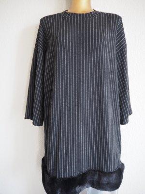 Nadelstreifen-Kleid mit Plüschkante Gr. M Business/Casual-Look