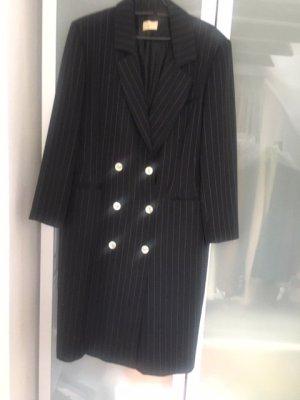 Gabardina tipo vestido negro-blanco puro tejido mezclado