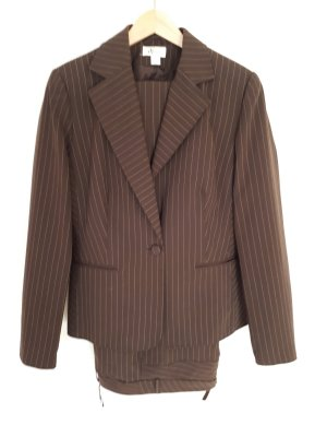 Vivien Caron Pinstripe Suit cream-black brown polyester