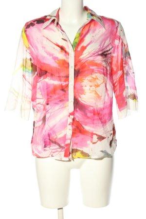 Nadine H. Langarm-Bluse pink-weiß abstraktes Muster Business-Look