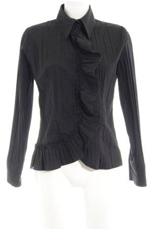 Nadine H. Langarm-Bluse schwarz Plastikelemente