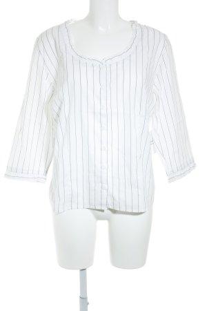 Nadine H. Rüschen-Bluse weiß-schwarz Streifenmuster klassischer Stil