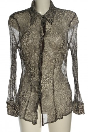 Nadine H. Blusa in seta nero-bianco sporco motivo floreale stile casual