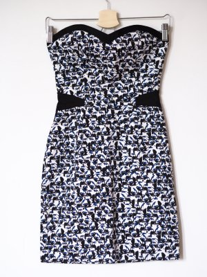 NAF NAF Bandeaukleid, trägerloses, schulterfreies Kleid, 34/ XS, blau-schwarz gemustert (Vogelprint), nagelneu