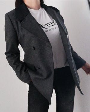Naf Naf Erbsen Mantel Wollblazer grau Gr. 38