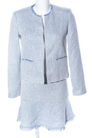 Naf naf Kostüm blau-weiß Karomuster Business-Look