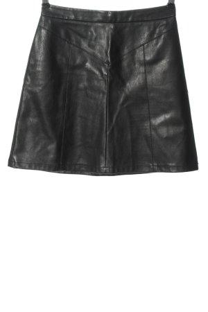 Naf naf Falda de cuero de imitación negro elegante