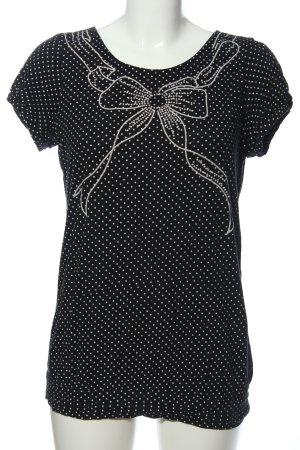 Naf naf Blouse à manches courtes noir-blanc motif de tache style décontracté