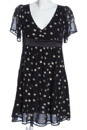 Naf naf Vestido de manga corta negro-blanco puro elegante