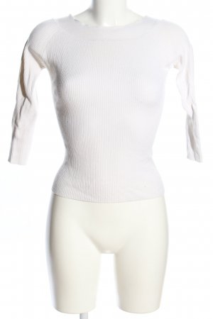 Naf naf Prążkowana koszulka biały W stylu casual