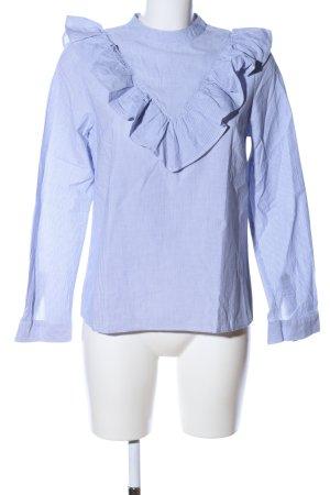 Naf naf Rüschen-Bluse blau-weiß Streifenmuster Business-Look