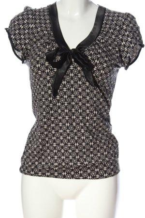 Naf naf Schlupf-Bluse schwarz-weiß grafisches Muster Business-Look