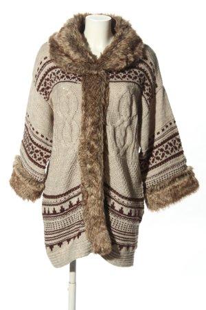 Naf naf Płaszcz z dzianiny w kolorze białej wełny-brązowy Łączone wzory