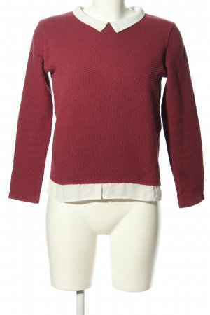 Naf naf Strickpullover rot-weiß Business-Look