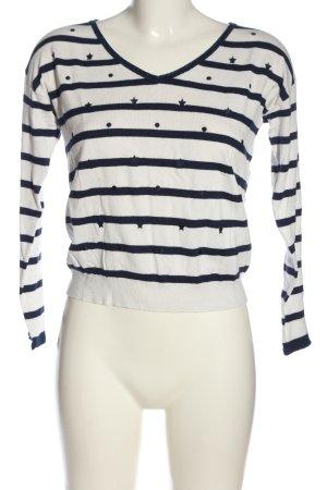 Naf naf V-Ausschnitt-Pullover weiß-blau Motivdruck Casual-Look