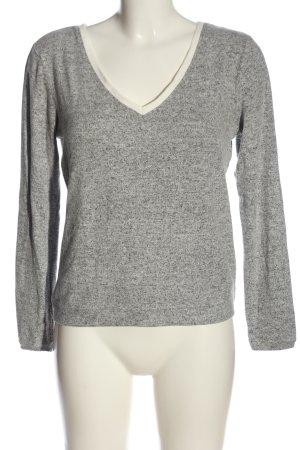 Naf naf V-Ausschnitt-Pullover hellgrau meliert Casual-Look