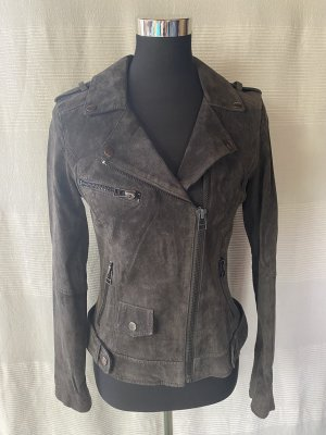 17&co Leather Jacket anthracite-taupe