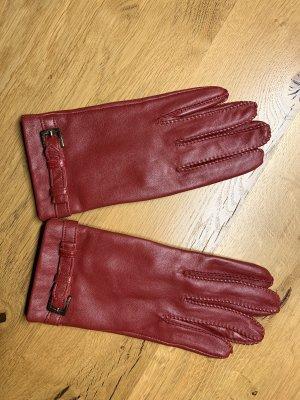 Esprit Leather Gloves dark red