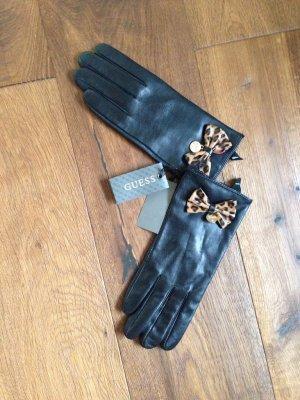 Guess Rękawiczki skórzane czarny-jasnobrązowy