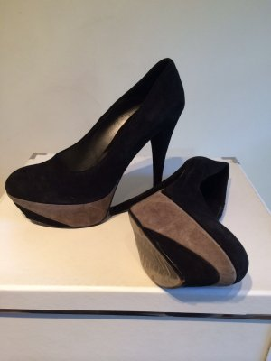 0039 Italy Platform Pumps black suede