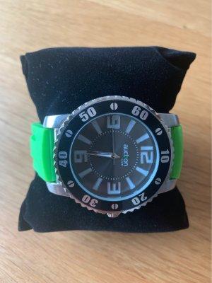 Zegarek automatyczny srebrny-zielony neonowy