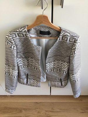 Only Blazer en tweed gris-blanc