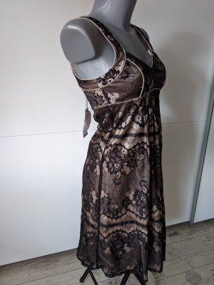 nagelneues cocktailkleid abendkleid Laura Scott Größe 32 XXS Spitze schwarz gold beige