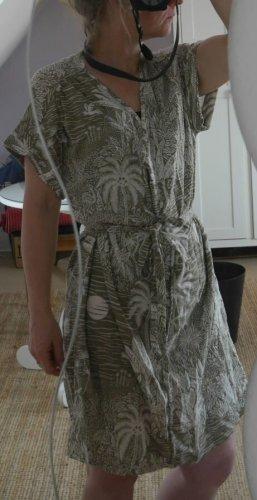 Nagelneues Sommerkleid, ungetragen, Khaki/beige, Bindegürtel, kurzärmlig