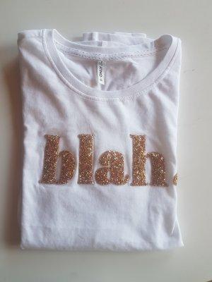 Only T-shirt biały-złoto
