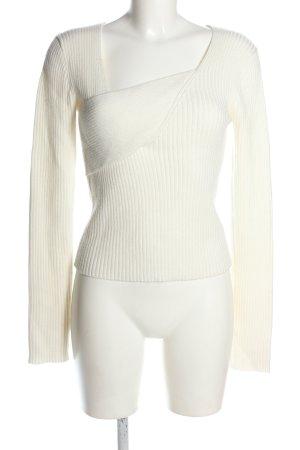 Nakd Feinstrickpullover weiß Streifenmuster Casual-Look