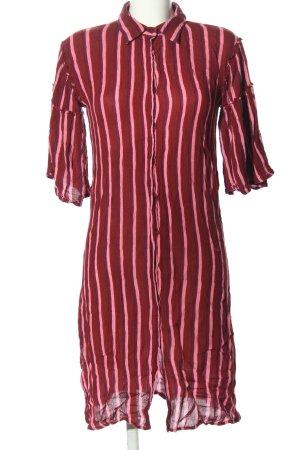 Nakd Hemdblusenkleid rot-pink Streifenmuster Casual-Look