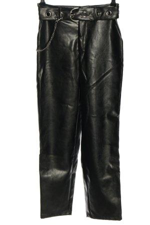 Nakd Pantalón de efecto piel negro-color plata look casual