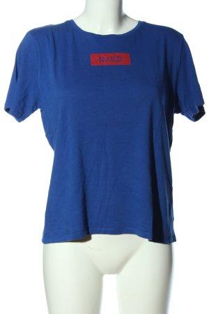 Nakd Short Sleeved Blouse blue printed lettering casual look