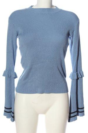 Nakd Langarm-Bluse blau-schwarz Casual-Look