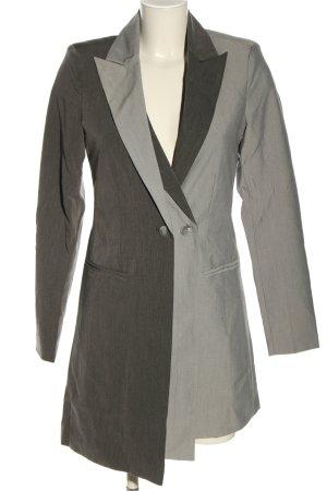 Nakd Blazer long gris clair Motif de tissage style décontracté