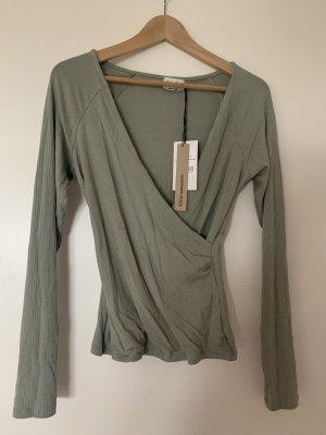Nakd Prążkowana koszulka khaki-jasnozielony