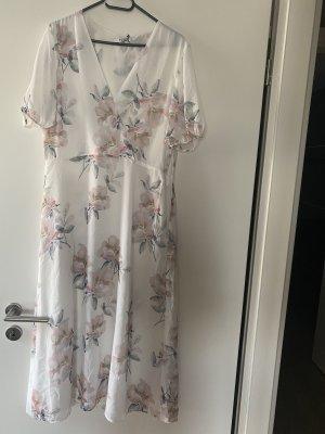 Nakd Na-kd Kleid 42 XL weiß rosa Maxikleid