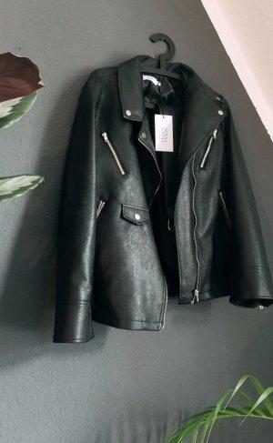 NaKd oversized faux leather jacket Black