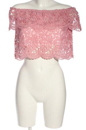 Nakd Spitzentop pink grafisches Muster Casual-Look