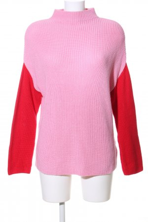 Nakd Strickpullover pink-rot Zopfmuster Business-Look